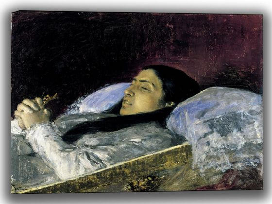 Fortuny, Mariano: Miss Del Castillo on her Deathbed. Fine Art Canvas. Sizes: A4/A3/A2/A1 (004015)